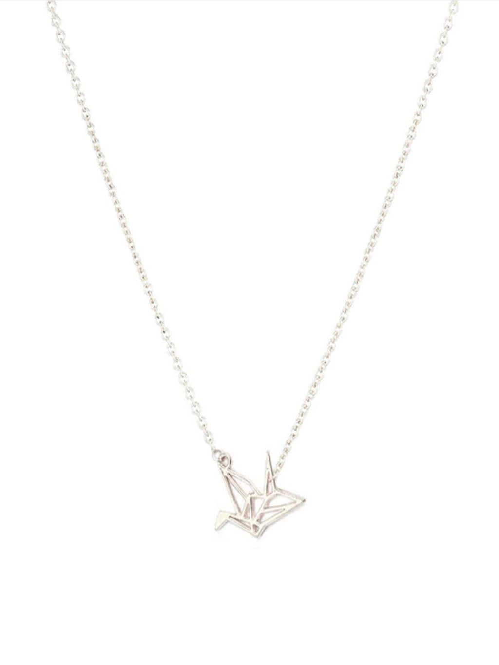 Crane Future Inspirational Silver Tone Necklace