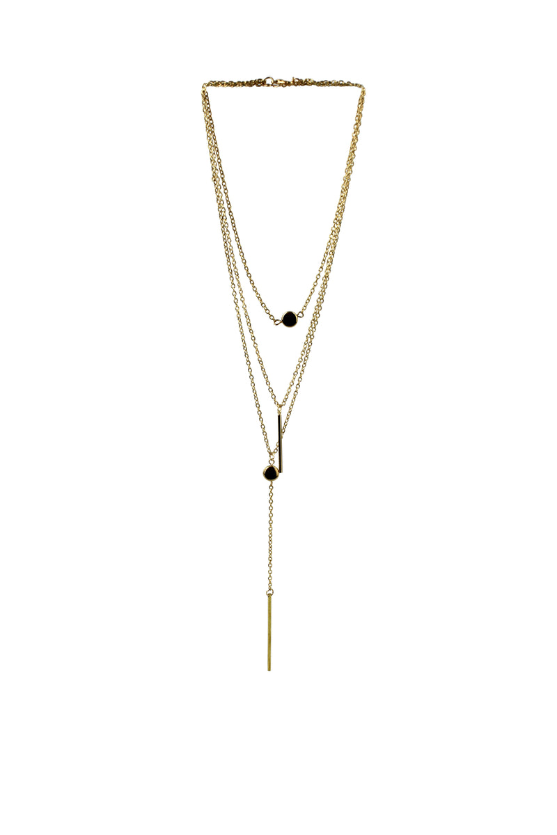 Tassel Bar & Circle Multi Layer Gold Tone Necklace