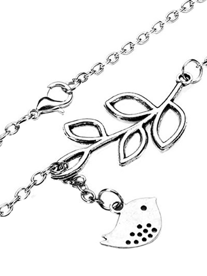 Silver Womens Love Bird & Leaf Pendant Necklace