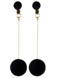 Womens Black Plush Ball Gold Tone Drop Earrings