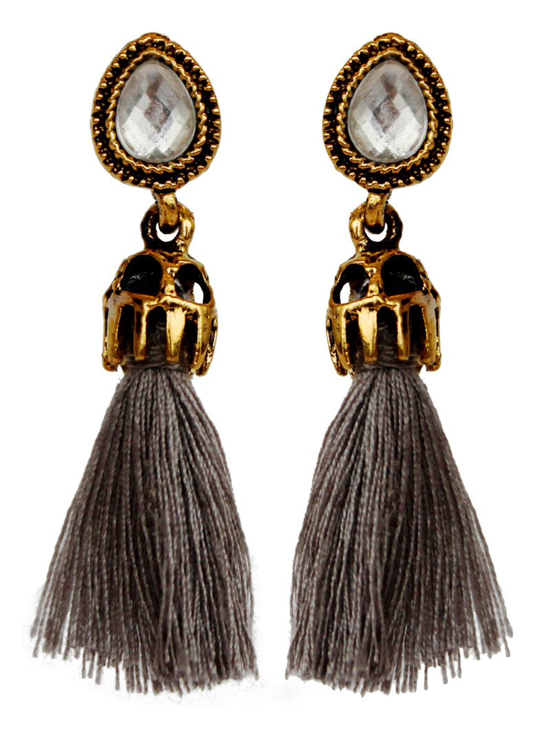 Gold Tone Vintage Style Earrings With Gray Tassel