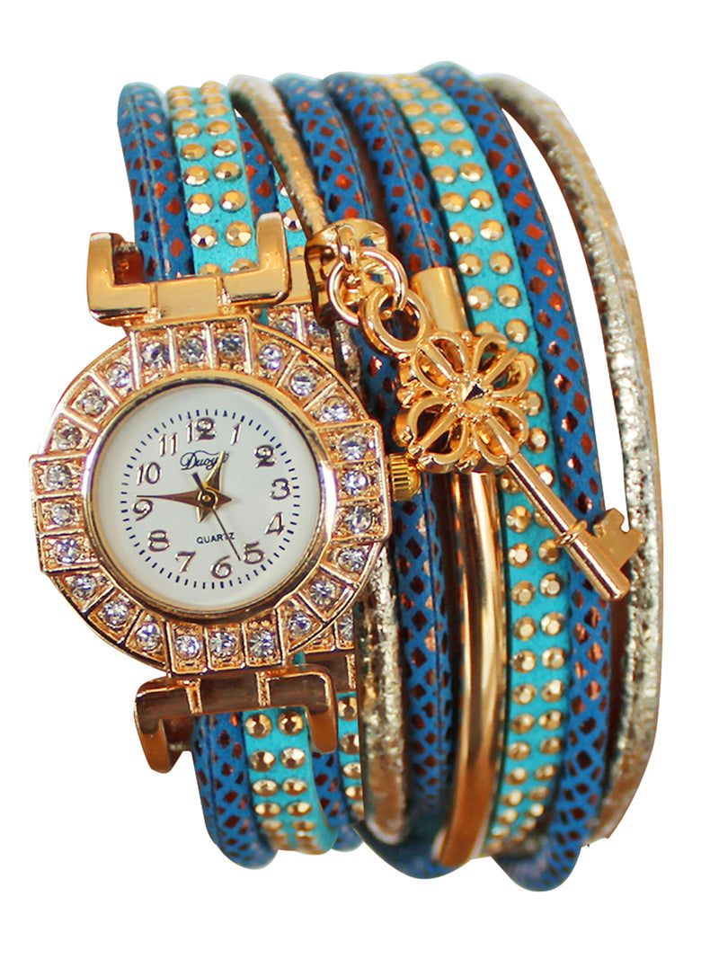 Turquoise & Gold Fashion Rhinestone Bracelet Watch