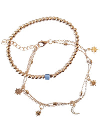 Gold Beaded 2-Piece Layered Anklet With Charms