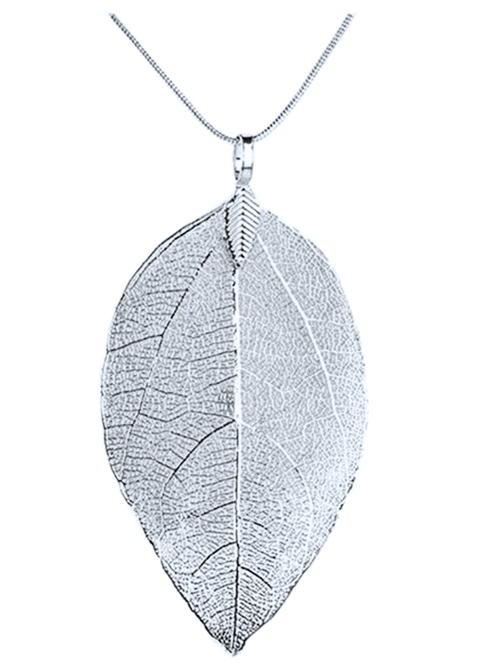 Silver Long Filigree Leaf Necklace