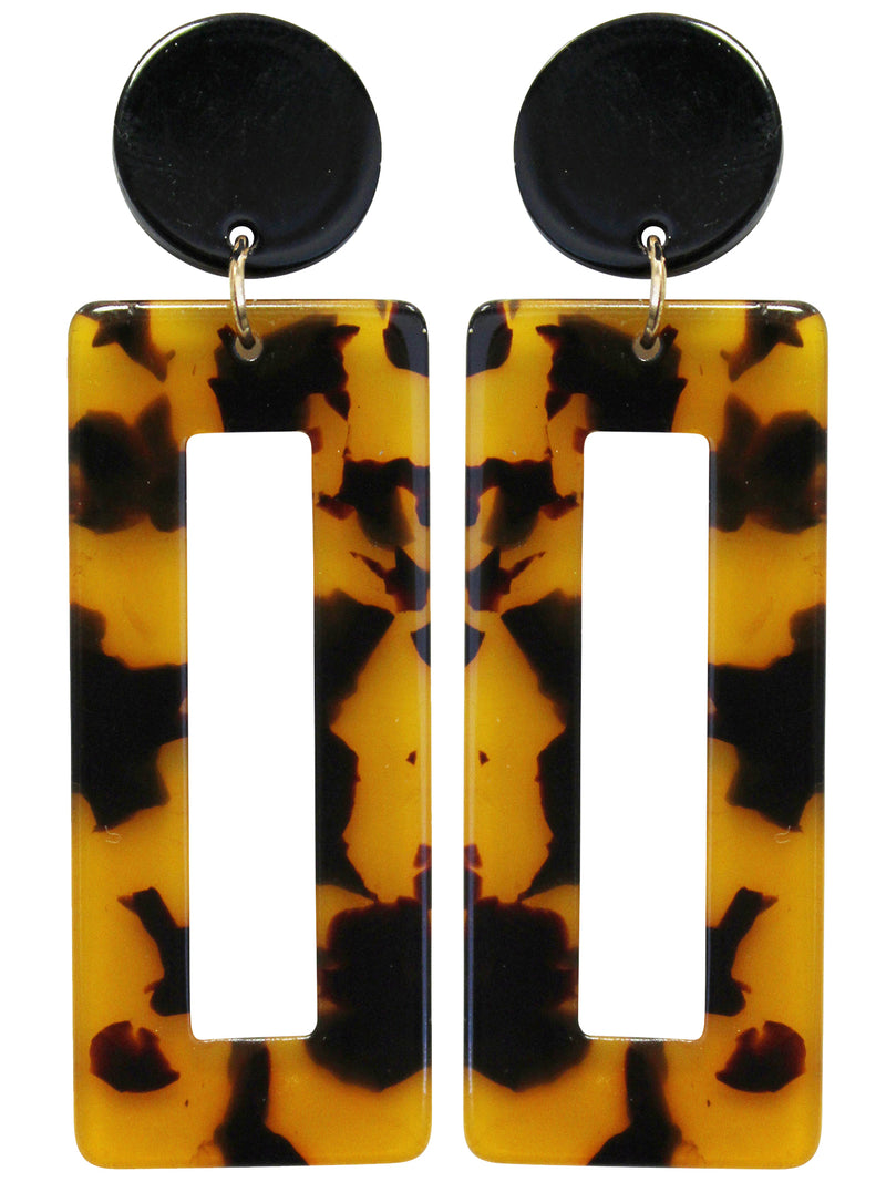 Plastic Rectangle Geometric Tortoise Earrings