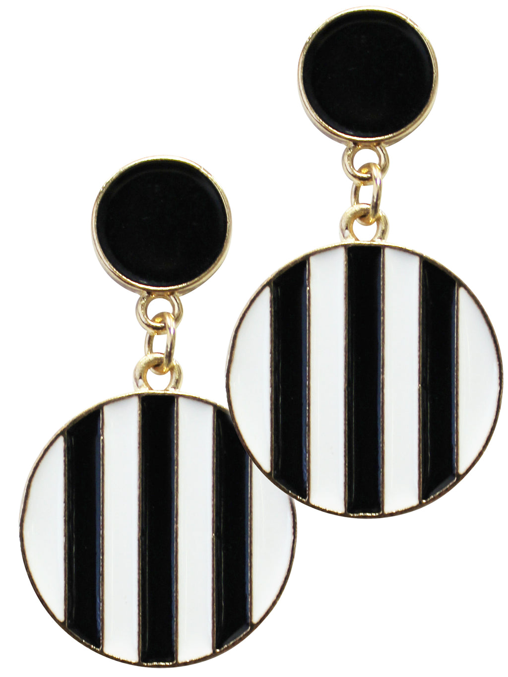 Black White & Gold Stripe Circle Drop Earrings