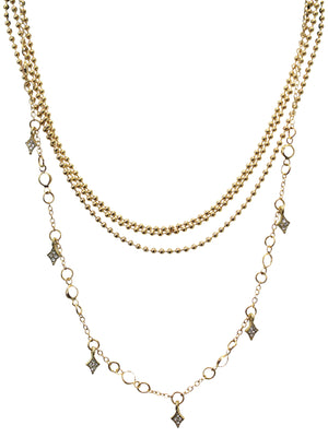 Gold Layered Chain Necklace With Rhinestone Charms