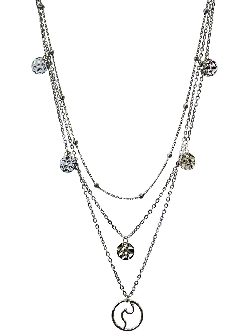 Abstract Design Silver Layered Chain Necklace