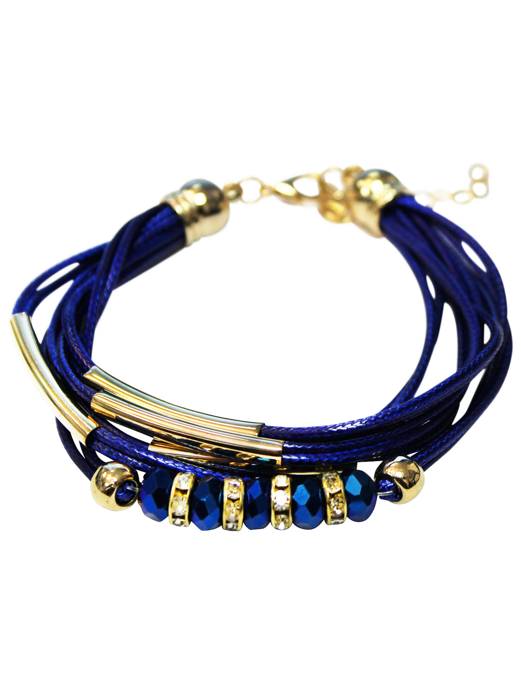 Blue Cord Bracelet With Jeweled Accents