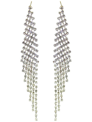 Long Rhinestone Silver Earrings
