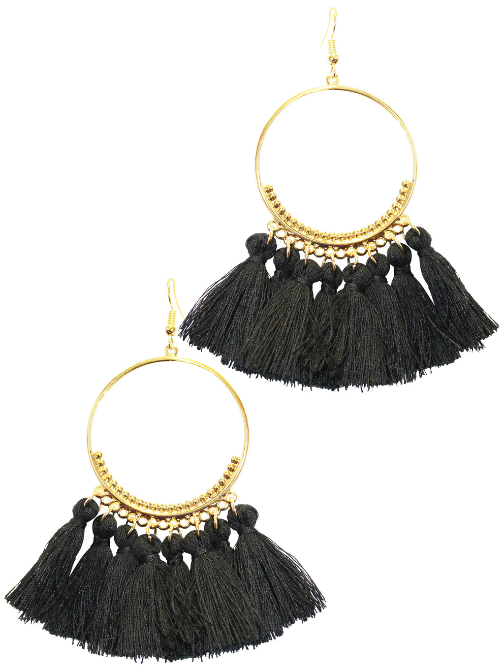 Big Hoop Golden Fringe Earrings