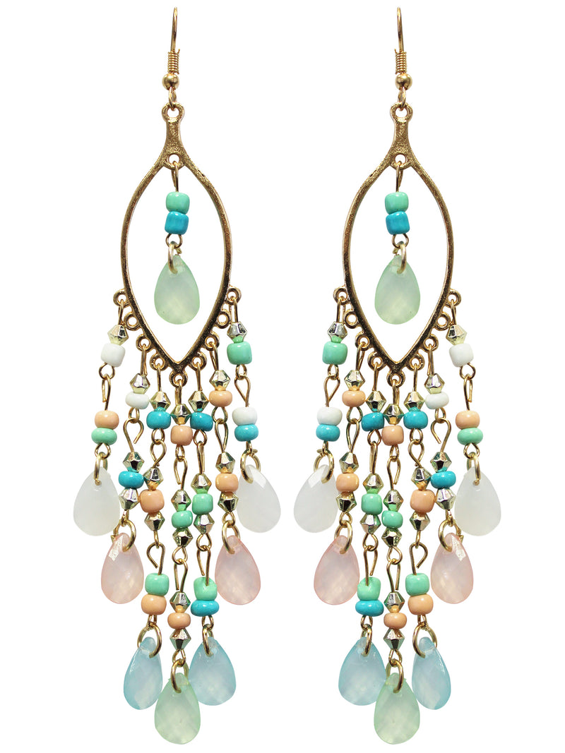 Mint Aqua & Coral Beaded Earrings