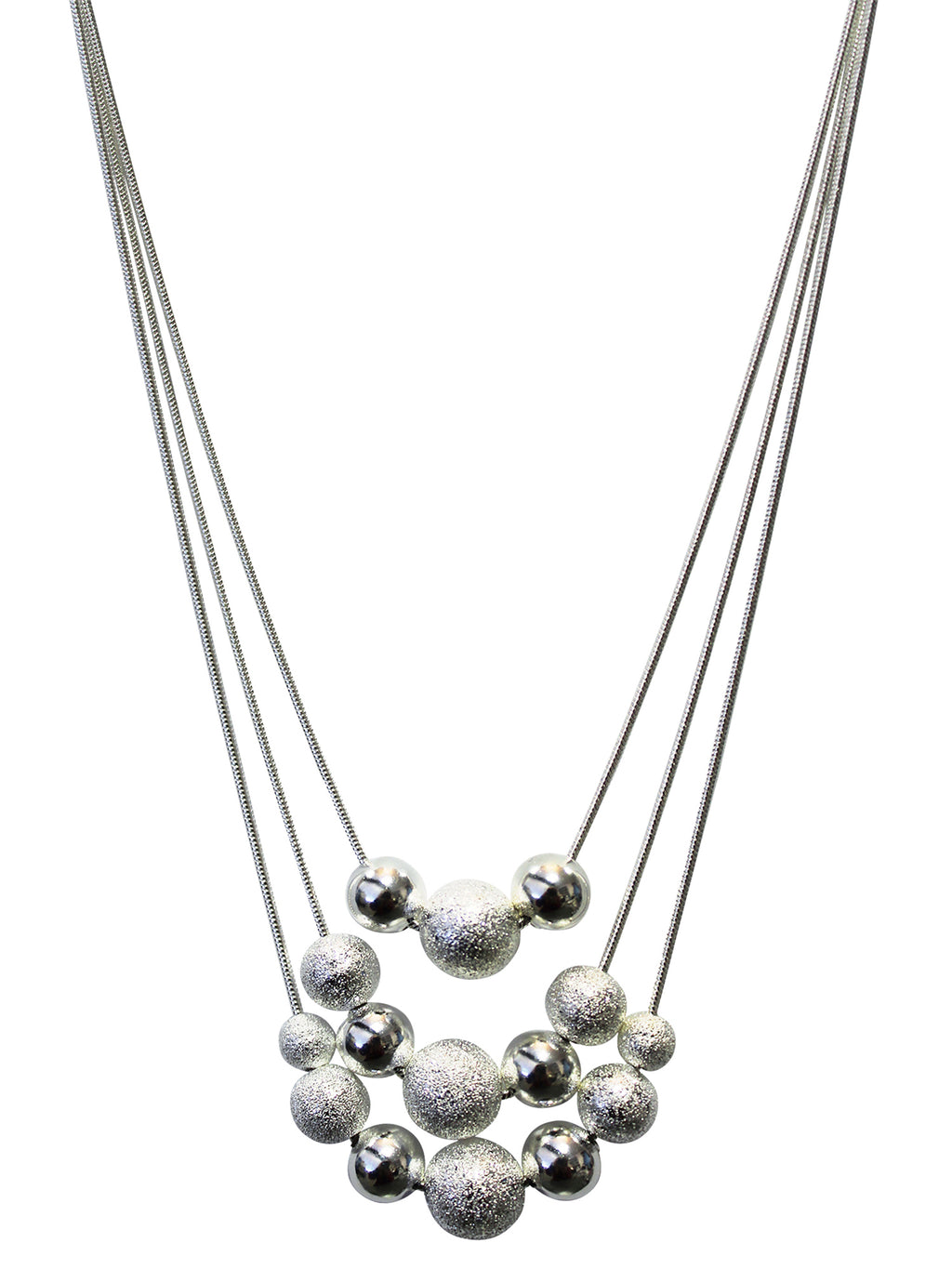Beaded Triple Layer Silver Plated Necklace