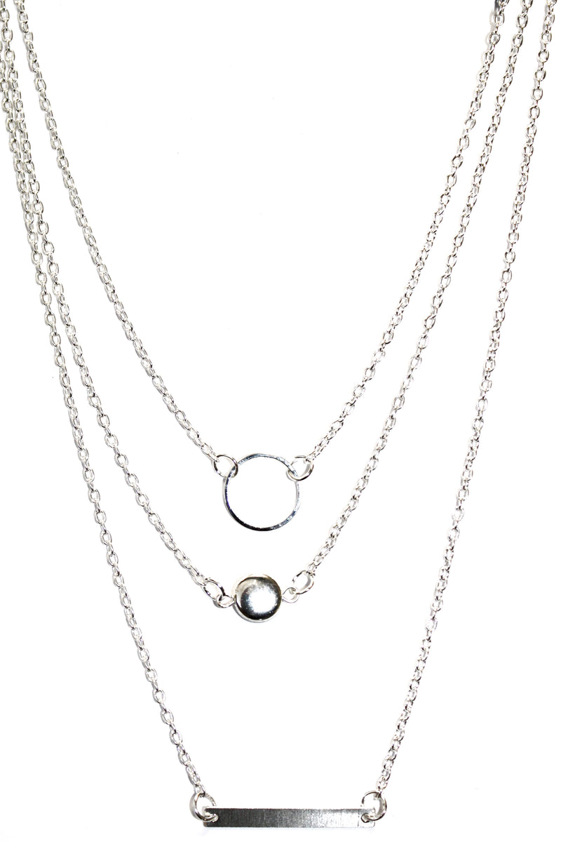 Simple Silver Tone 3 Layer Dainty Necklace