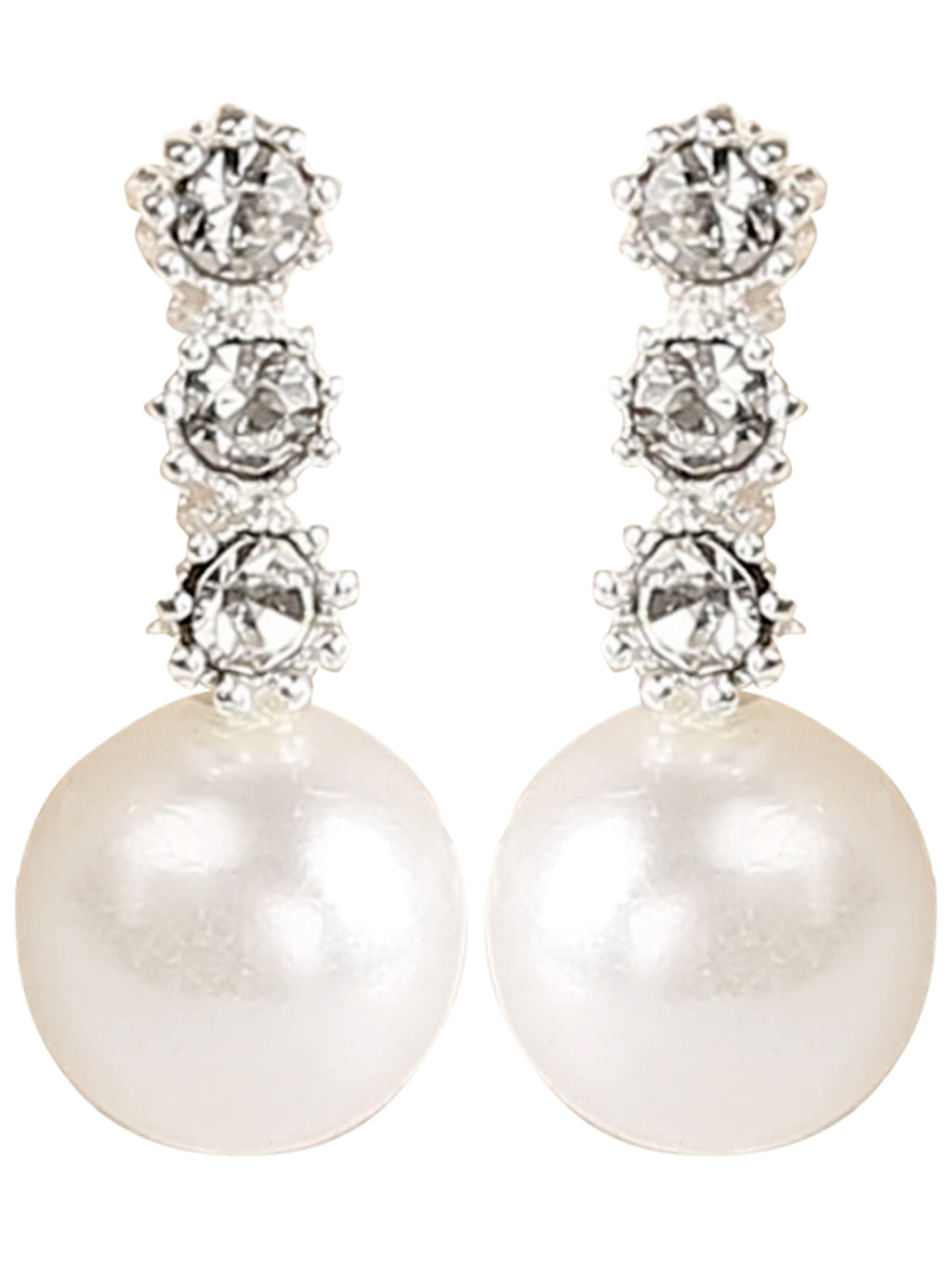 Dainty 3 Rhinestone Drop Pearl Earrings