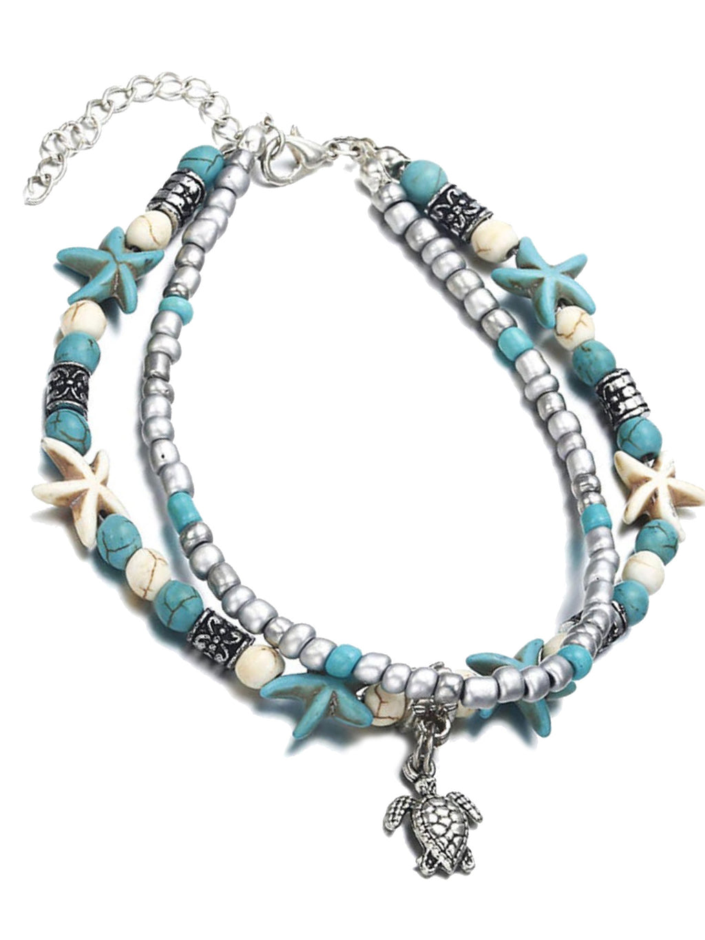 Layered Starfish & Sea Turtle Ankle Bracelet