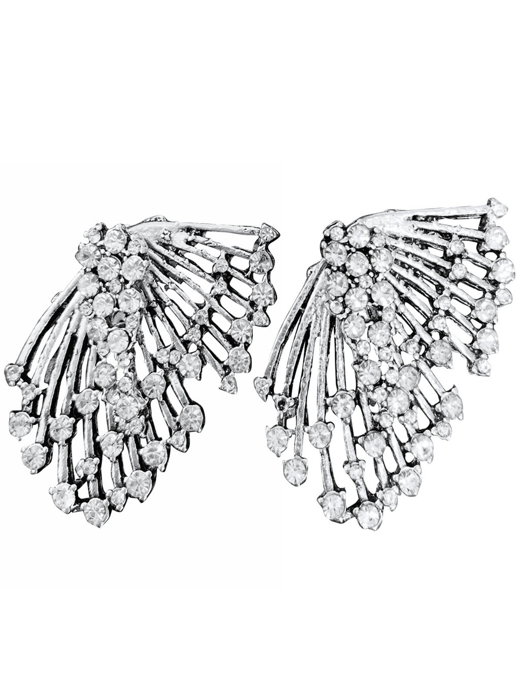 Fan Shaped Rhinestone Earrings