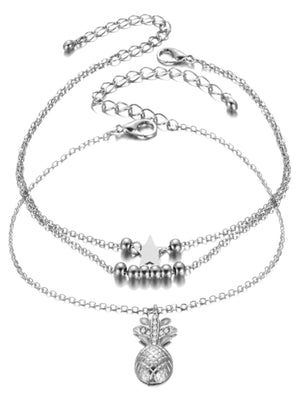 Pineapple 3 Layer Silver Tone Ankle Bracelet