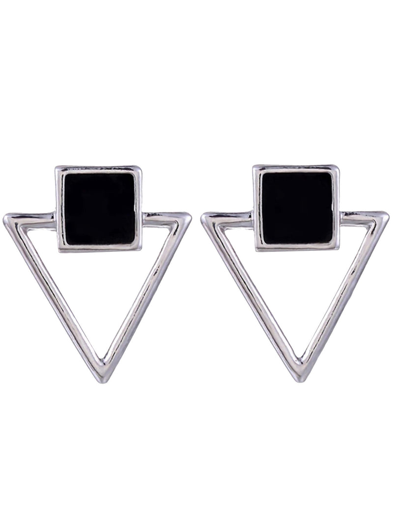 Triangle & Square Black & Silver Earrings