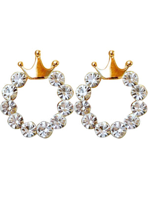 Petite Crowns On Rhinestone Circle Earrings