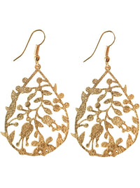 Gold Filigree Teardrop Earrings