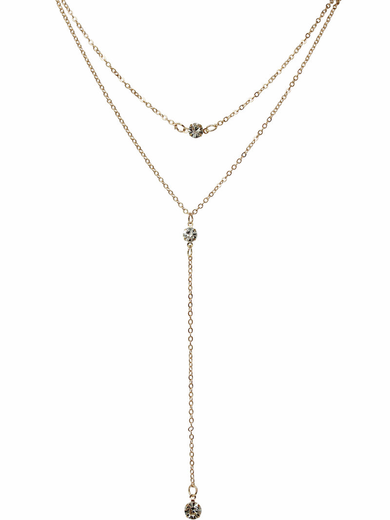 Double Layer Triple Crystal Gold Tone Necklace