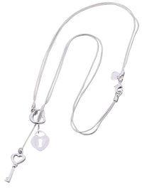 Sterling Silver Plated Heart & Key Necklace