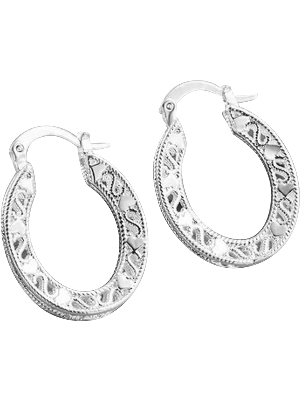 Sterling Silver Plated Heart Filigree Earrings