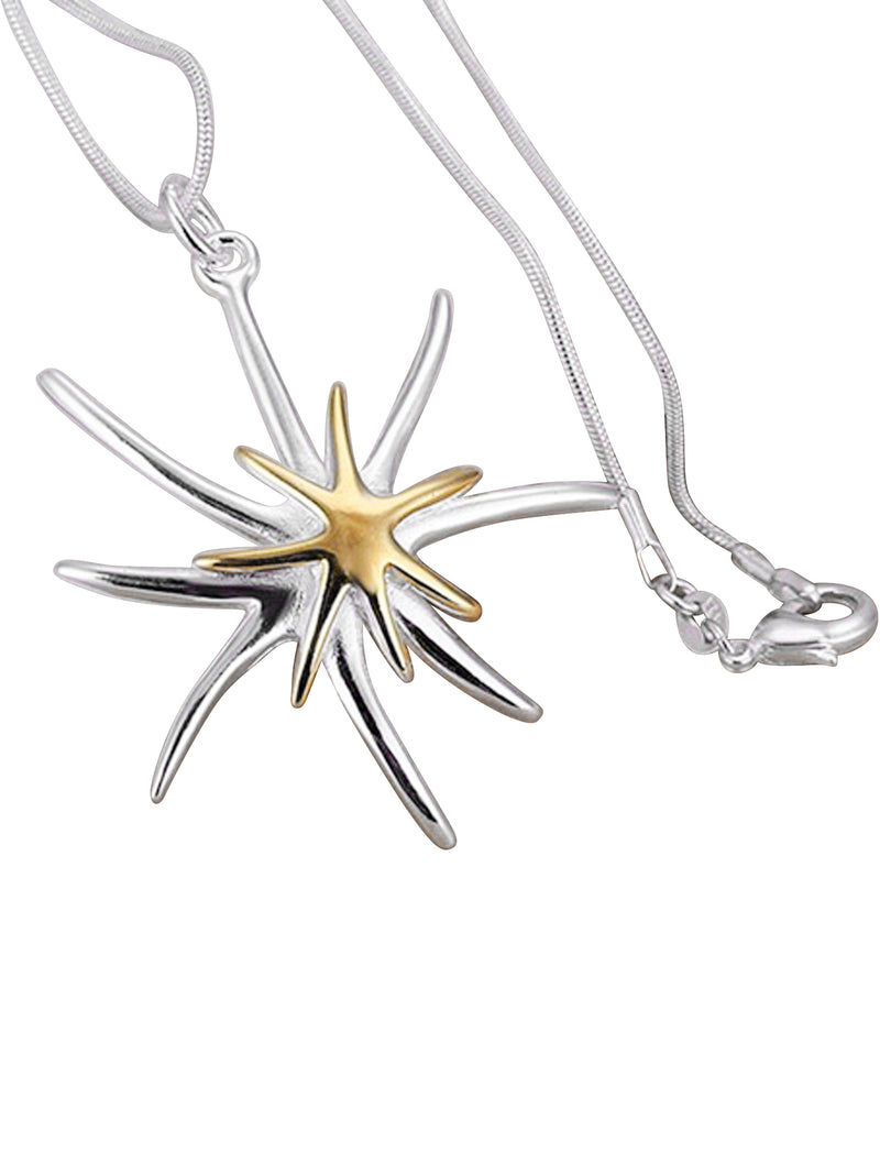 Sterling Silver & Gold Plated Starfish Necklace