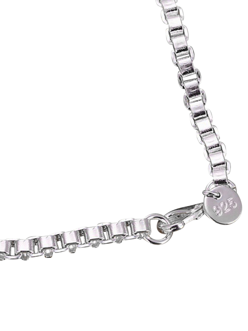 Sterling Silver Plated Box Link Bar Bracelet