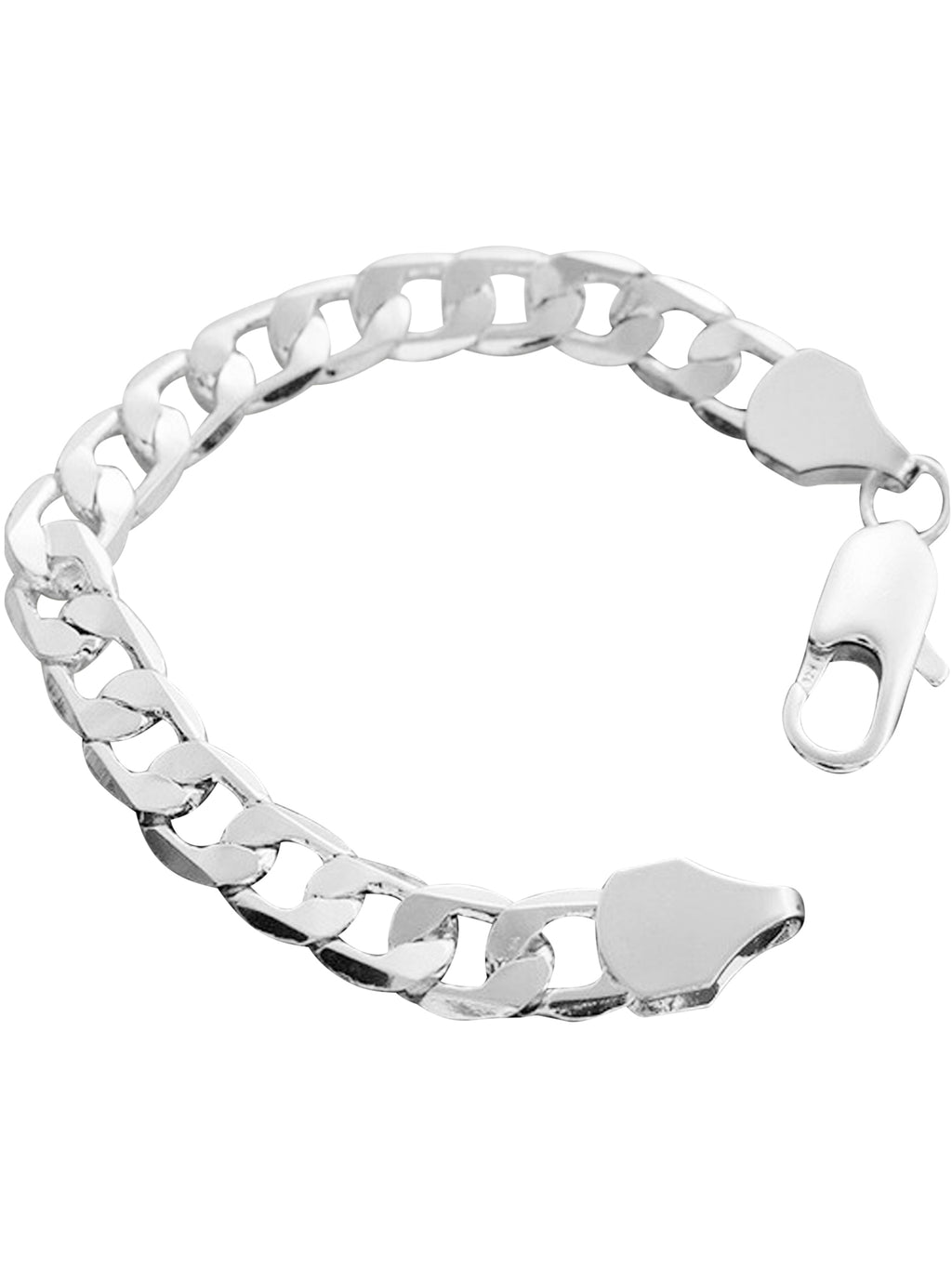 Mens Cuban Link Sterling Silver Plated Bracelet