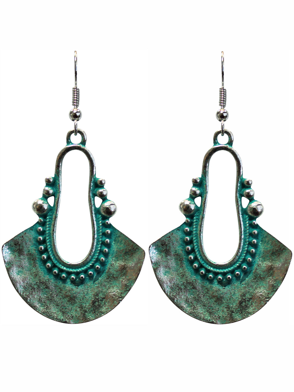 Turquoise Patina Metal Dangle Hook Earrings