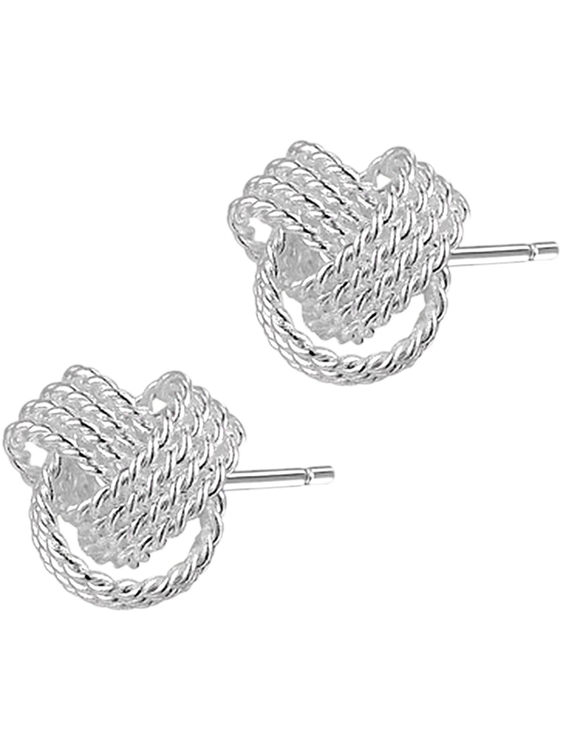 Mesh Knot Sterling Silver Plated Earrings