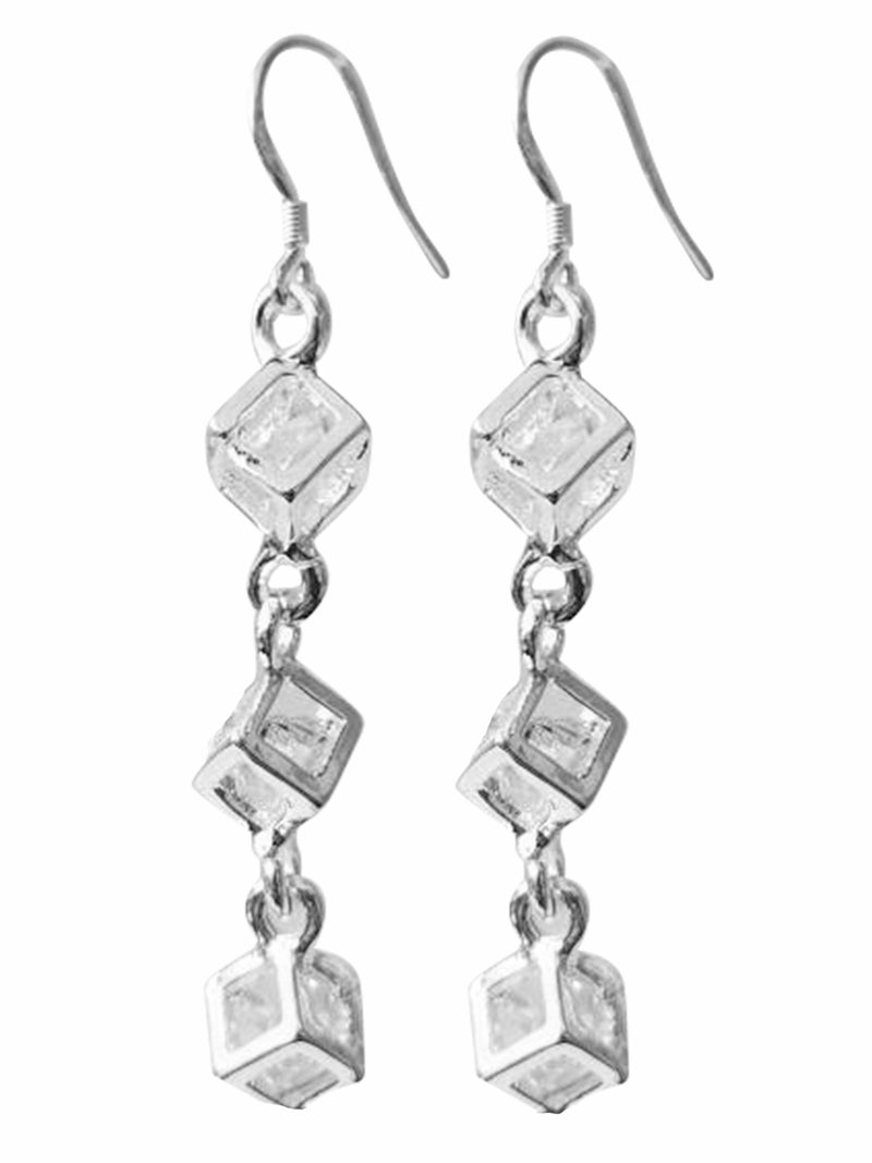 Caged Crystal Sterling Silver Plated Earrings