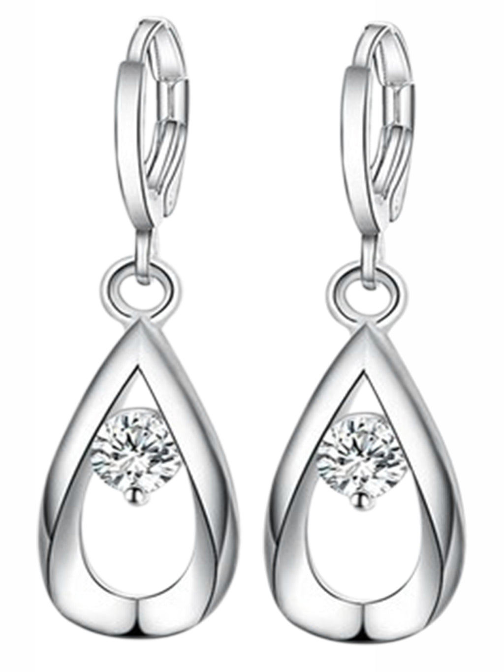 Sterling Silver Plated Crystal Stone Earrings