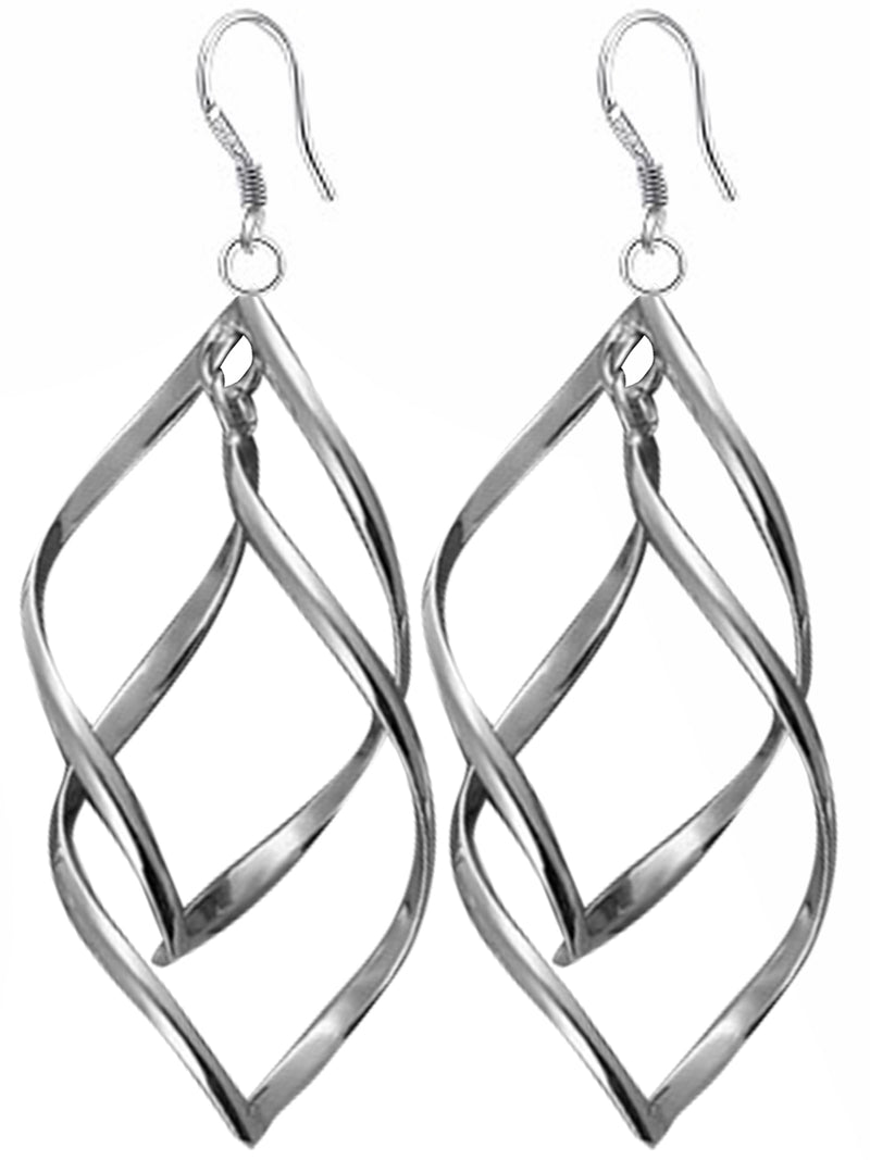 Chic Sterling Silver Plated Double Leaf Hook Earrings