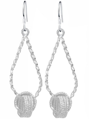 Sterling Silver Plated Dangling Knot & Hoop Earrings