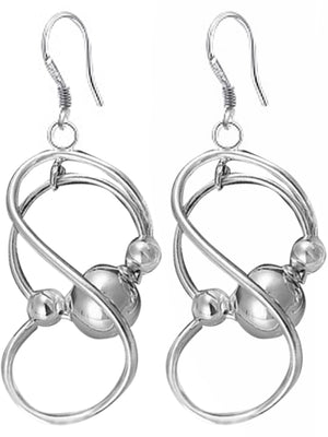 Twists & Balls Sterling Silver Plated Earrings