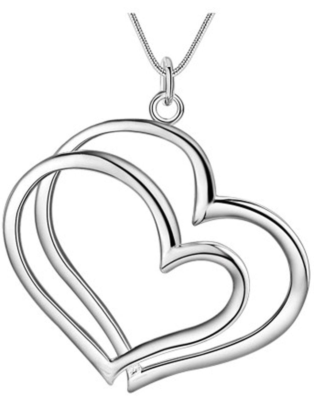 Sterling Silver Plated Double Heart Necklace