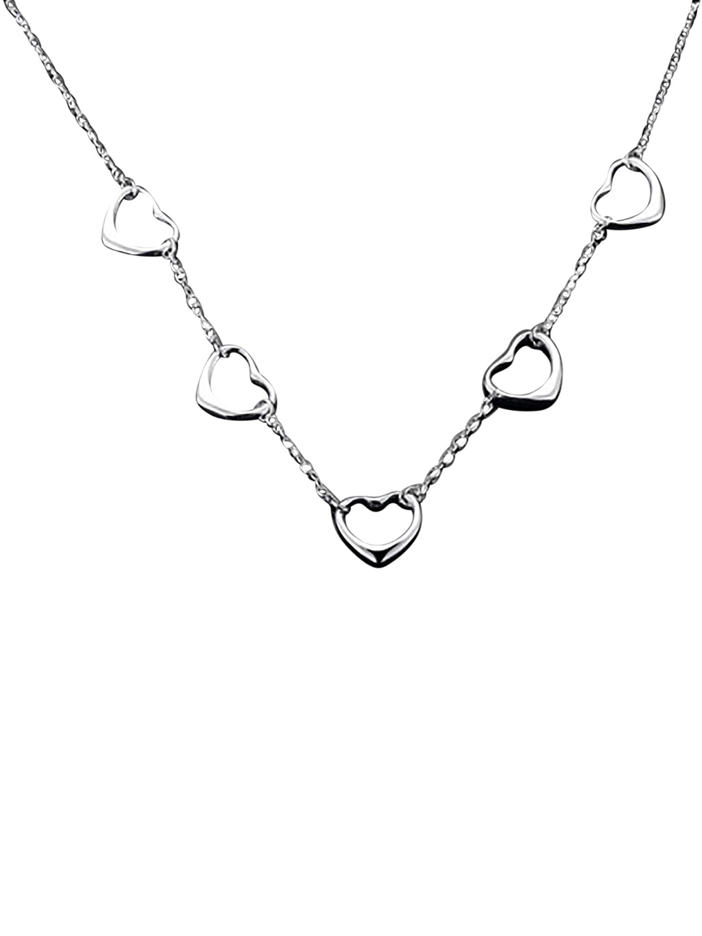 Endless Hearts Sterling Silver Plated Necklace