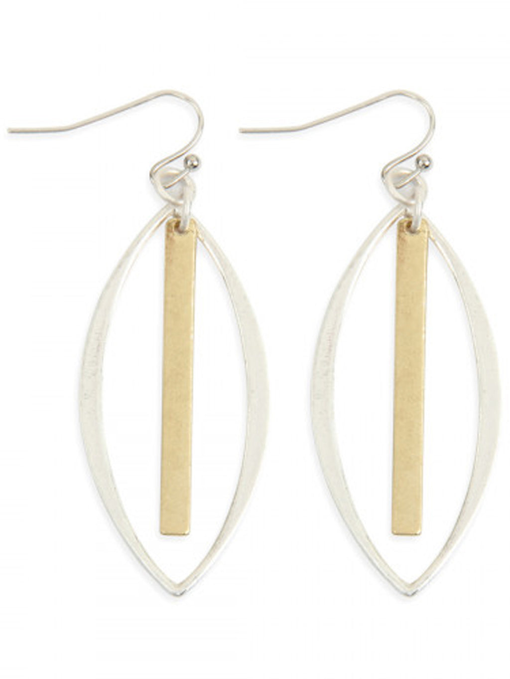 Silver Marquise With Gold Bar Earrings
