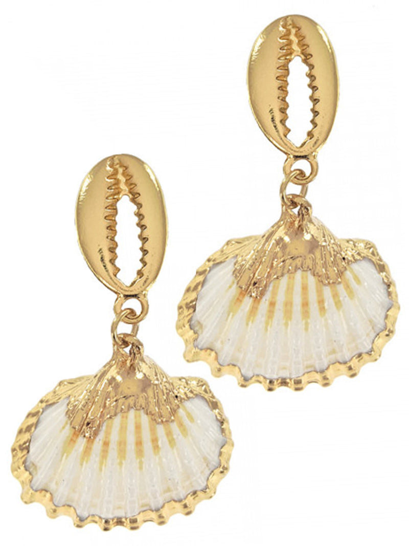 Gold Double Seashell Earrings