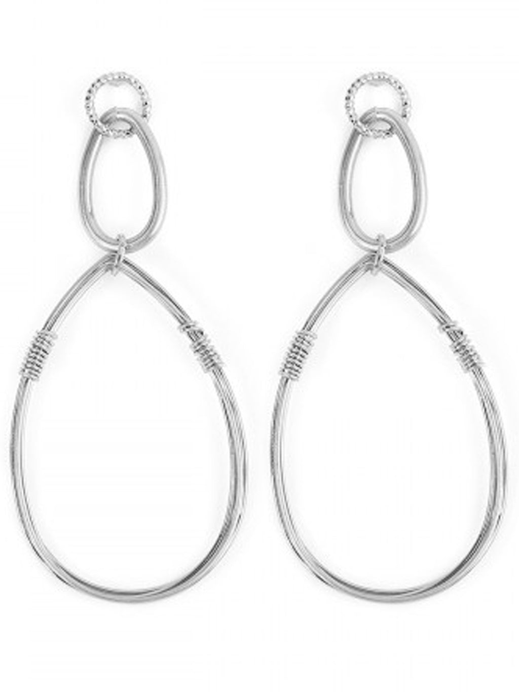 Burnish Silver Wire Teardrop Earrings