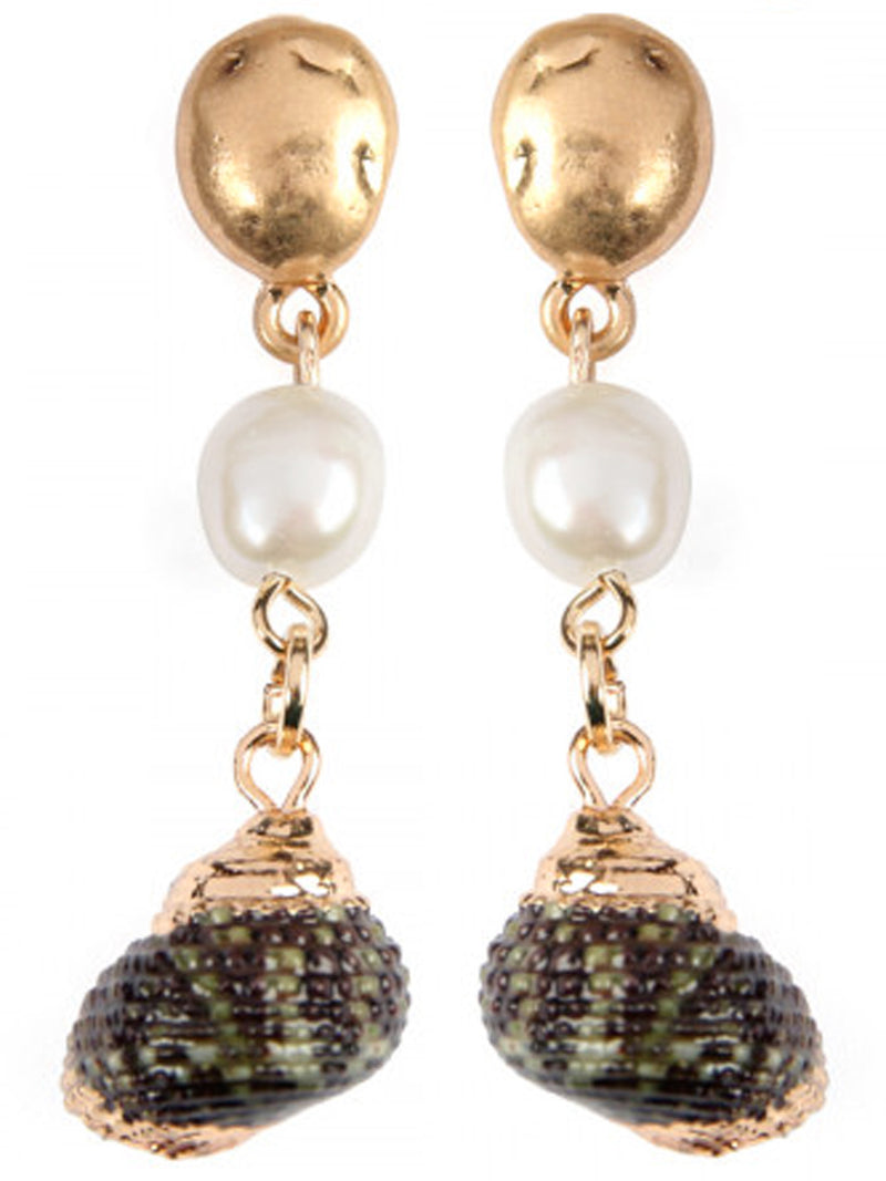 Gold Sea Shell & Pearl Drop Earrings