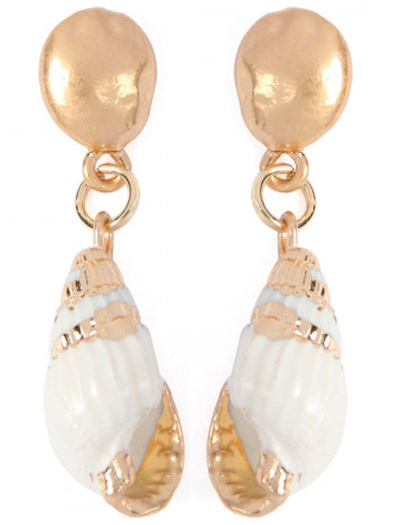 Gold & White Sea Shell Drop Earrings