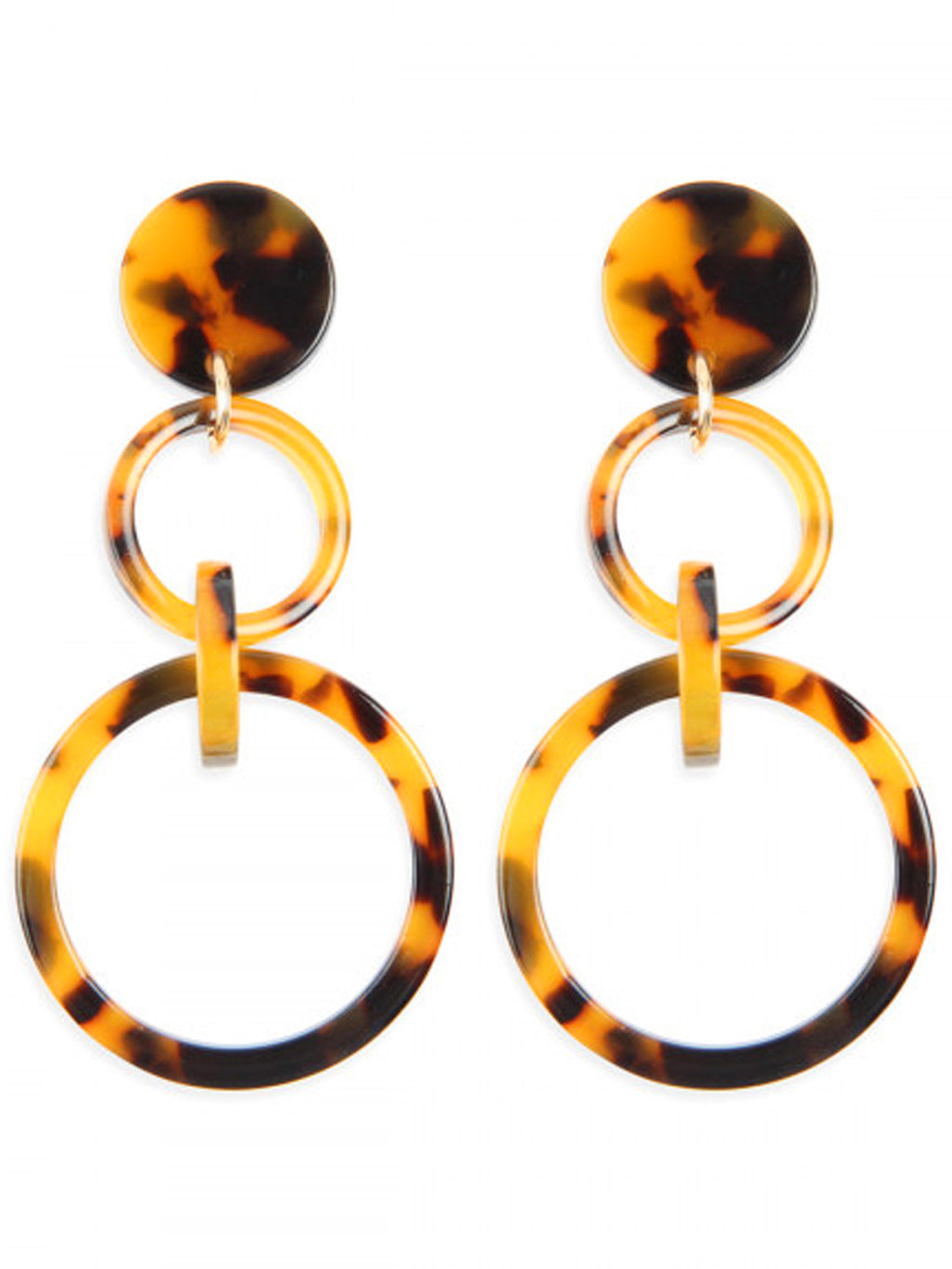 Brown Double Hoop Acetate Dangle Earrings