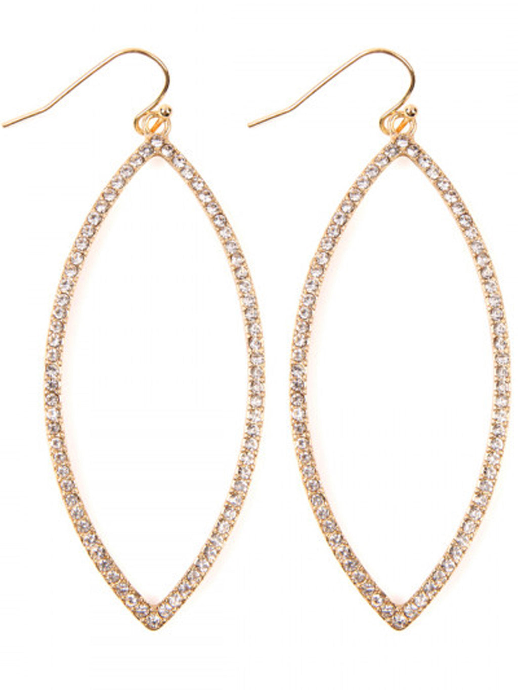 Gold Oval Open Marquise Rhinestones Earrings