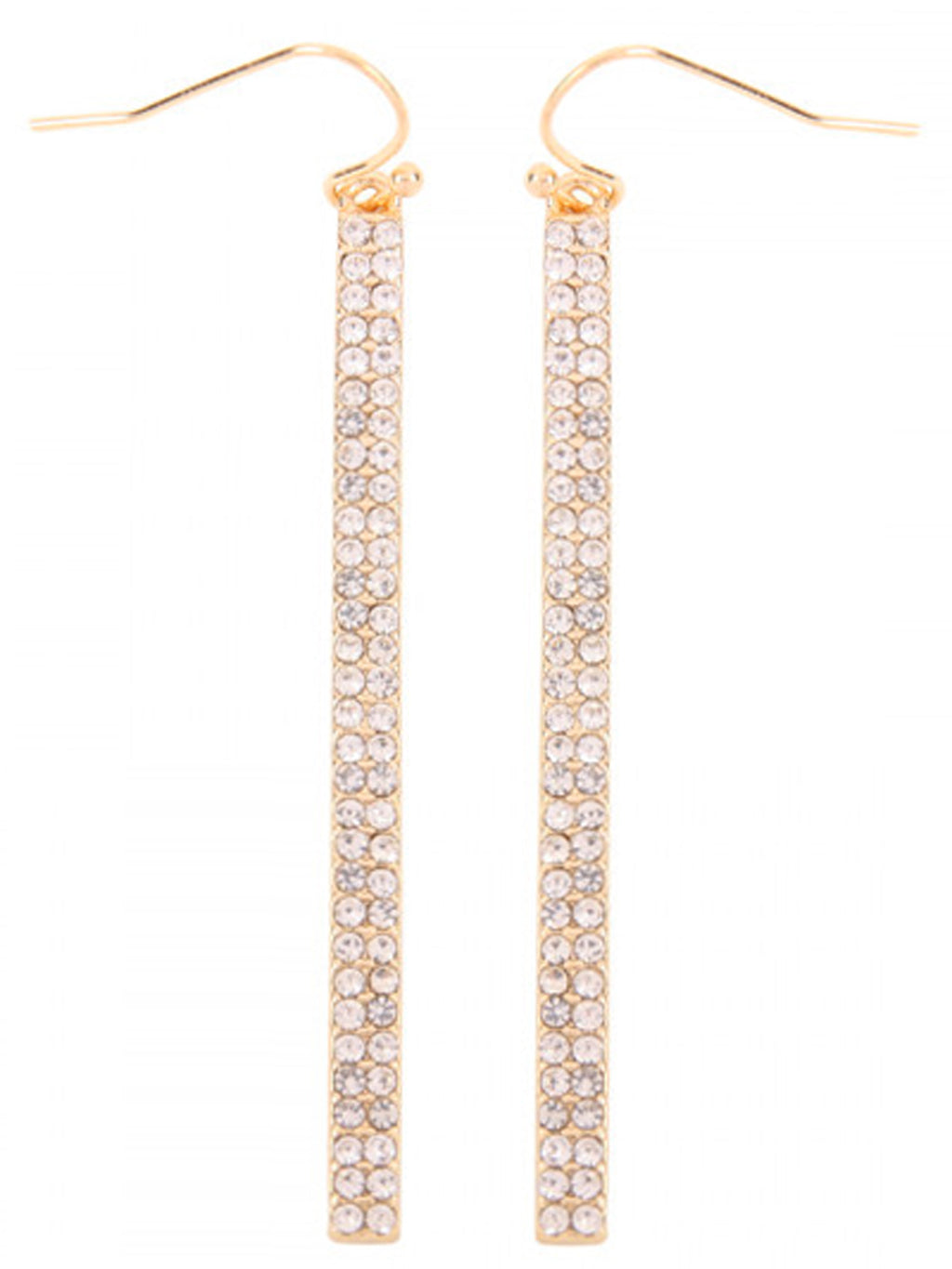 Gold Double Row Rhinestone Earrings
