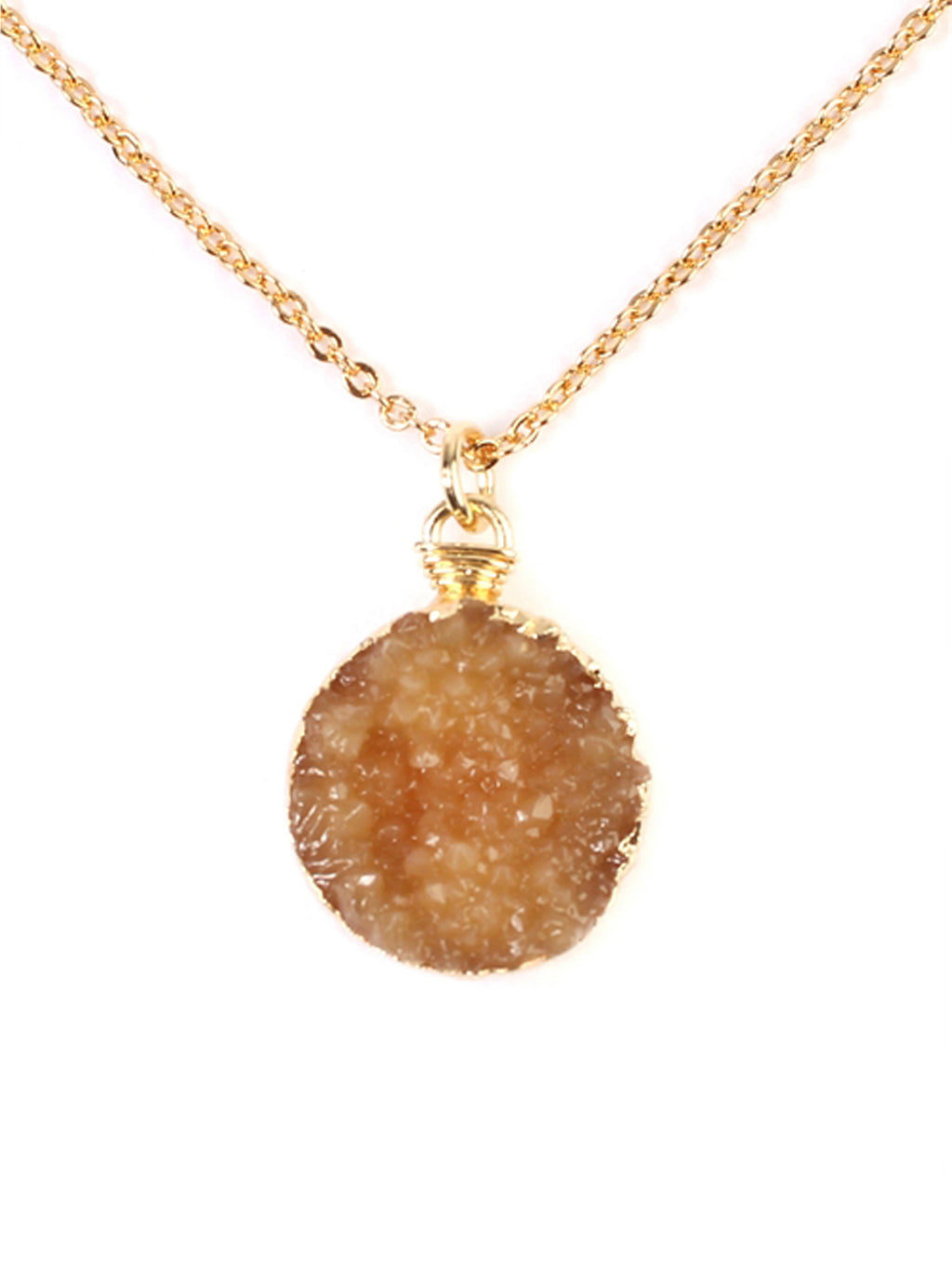 Druzy Pendant Gold Chain Necklace