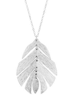 Silver Textured Long Metal Leaf Pendant